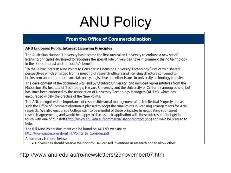ANU Policy http://www.anu.edu.au/ro/newsletters/29november07.htm