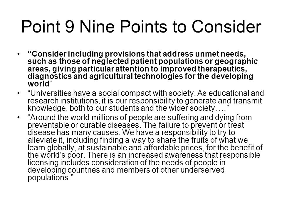 Point 9 Nine Points to Consider