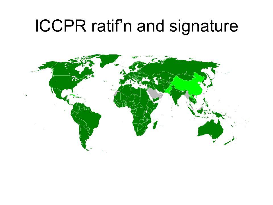 ICCPR ratif'n and signature