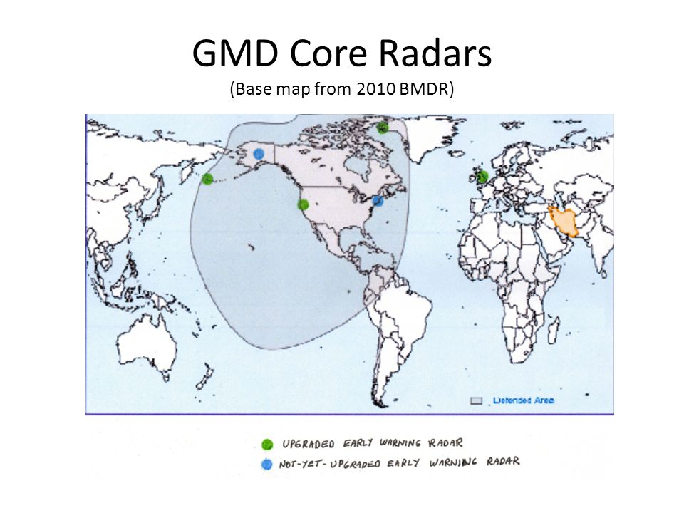 GMD Core Radars (Base map from 2010 BMDR)