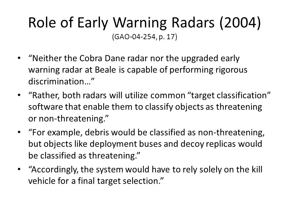 Role of Early Warning Radars (2004) (GAO , p. 17)