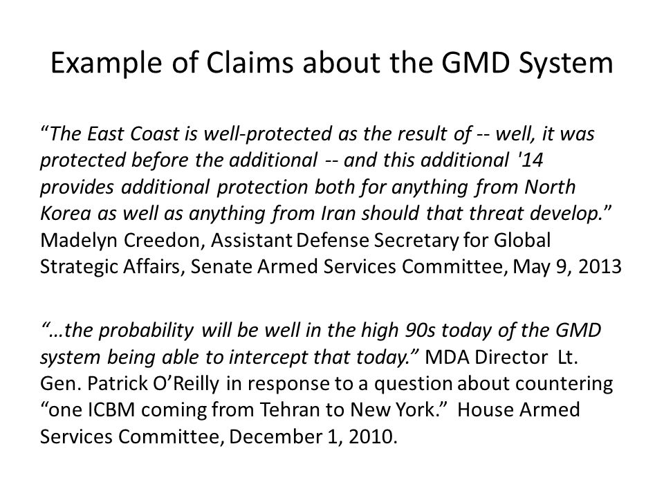 Example of Claims about the GMD System