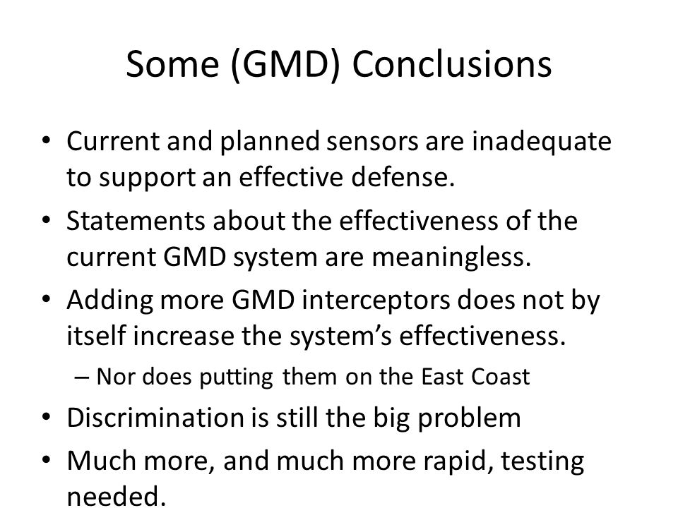 Some (GMD) Conclusions