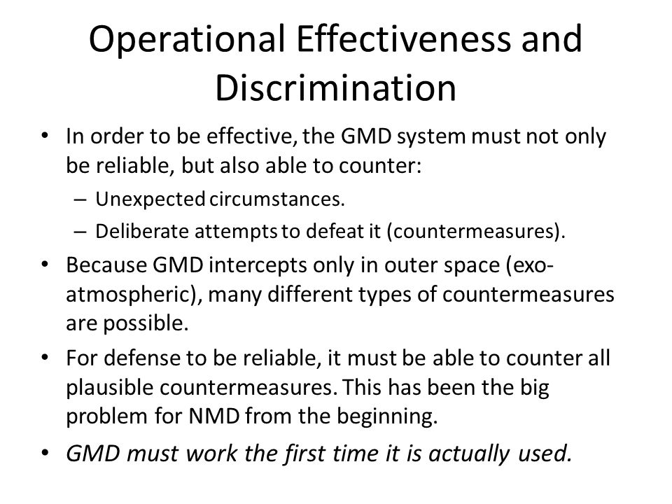 Operational Effectiveness and Discrimination