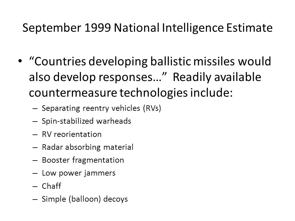 September 1999 National Intelligence Estimate