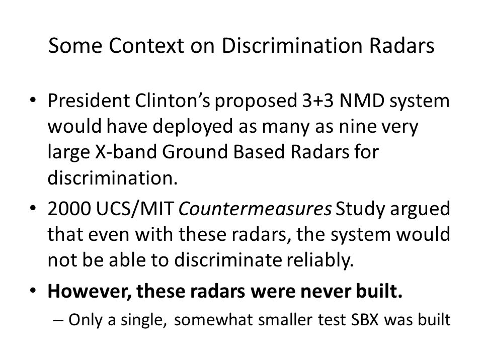 Some Context on Discrimination Radars