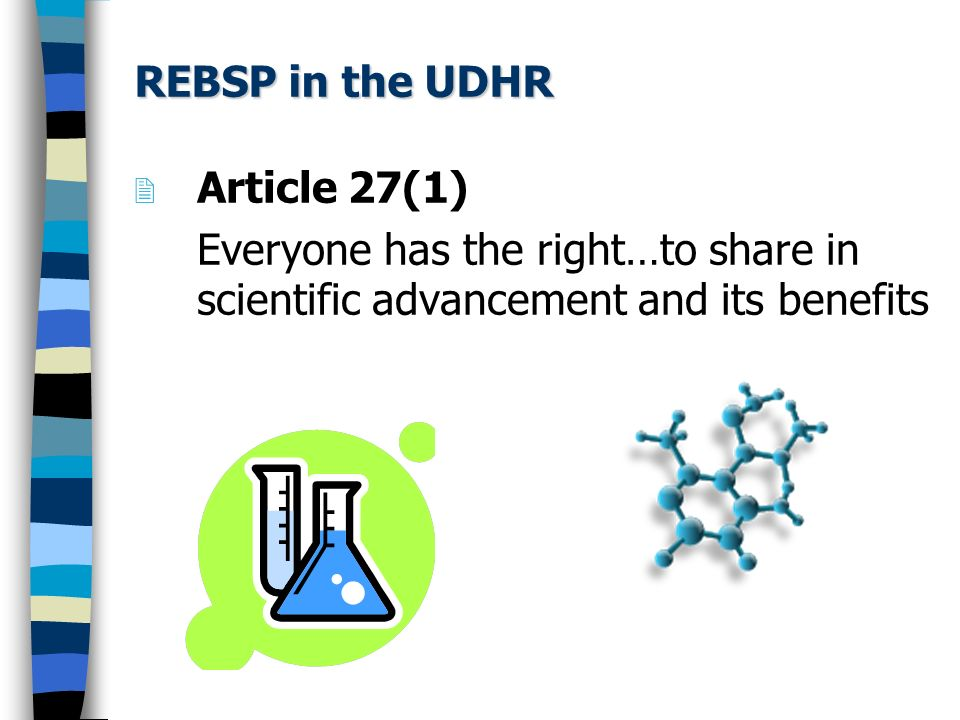REBSP in the UDHR Article 27(1) Everyone has the right…to share in scientific advancement and its benefits.