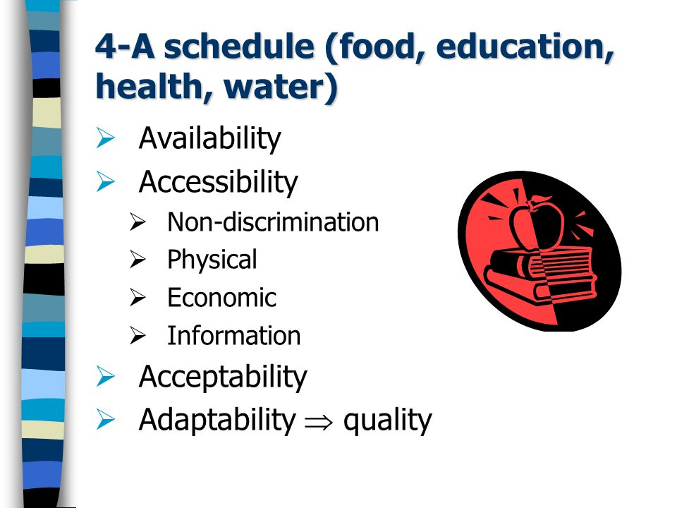 4-A schedule (food, education, health, water)