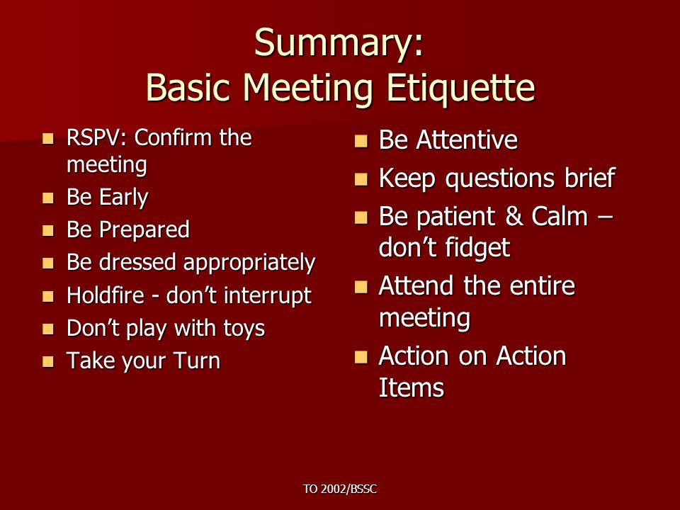 meeting etiquette ppt