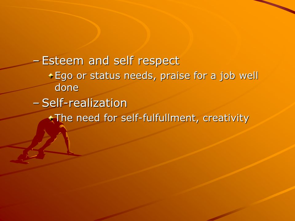 Esteem and self respect