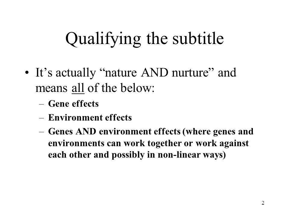 Qualifying the subtitle