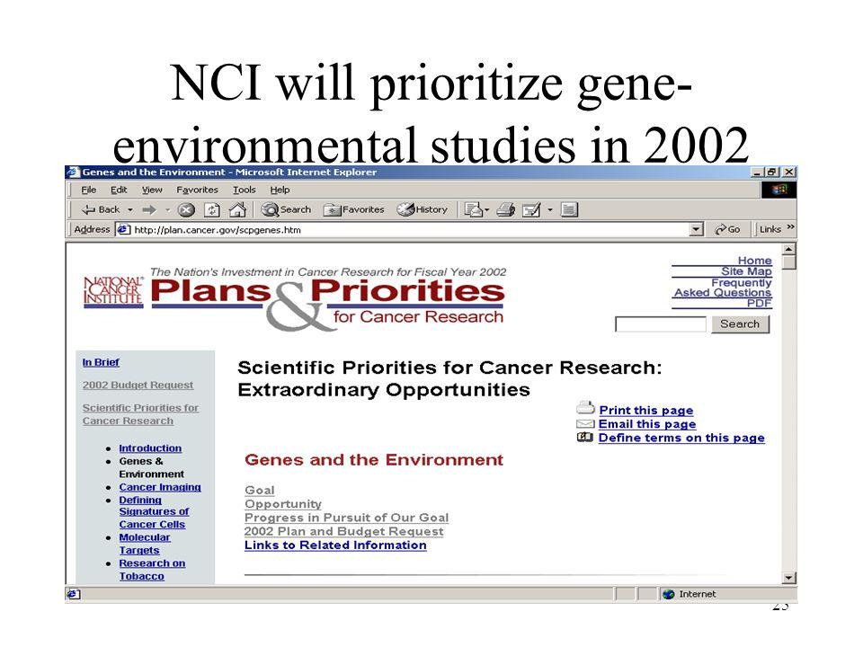 NCI will prioritize gene-environmental studies in 2002