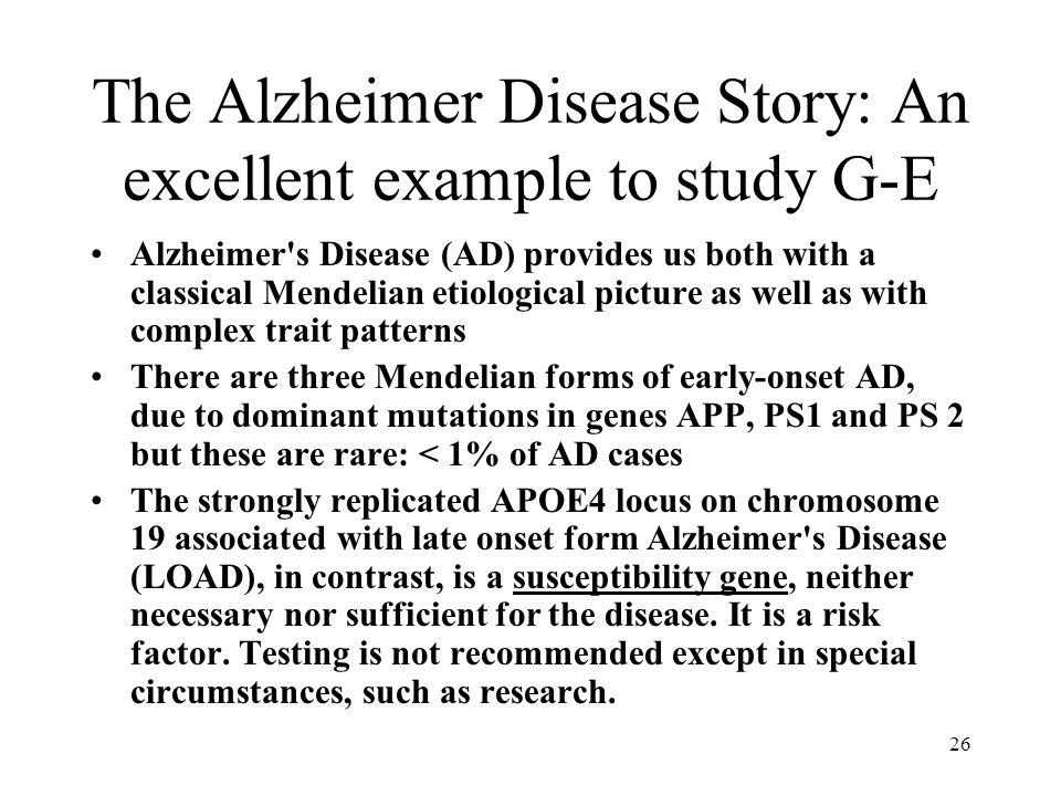 The Alzheimer Disease Story: An excellent example to study G-E