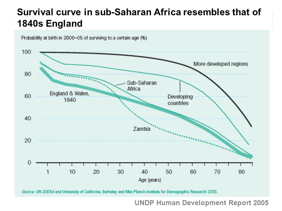 Survival curve in sub-Saharan Africa resembles that of 1840s England