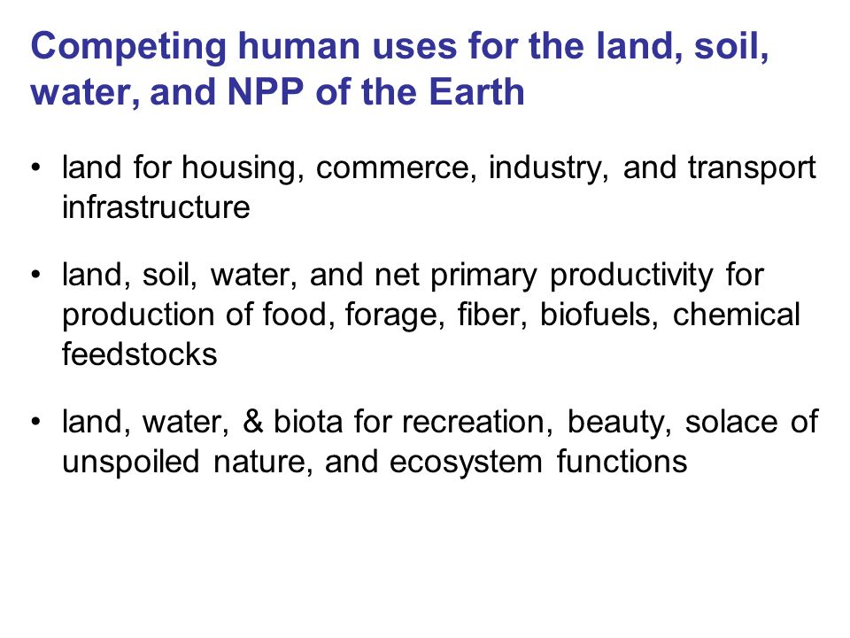Competing human uses for the land, soil, water, and NPP of the Earth