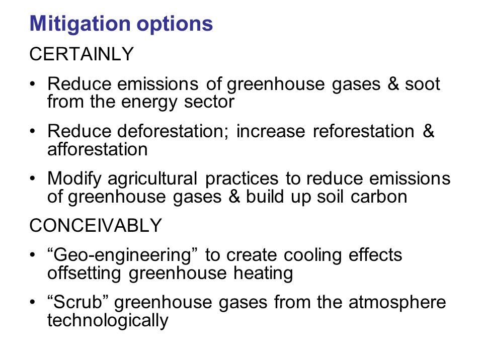 Mitigation options CERTAINLY