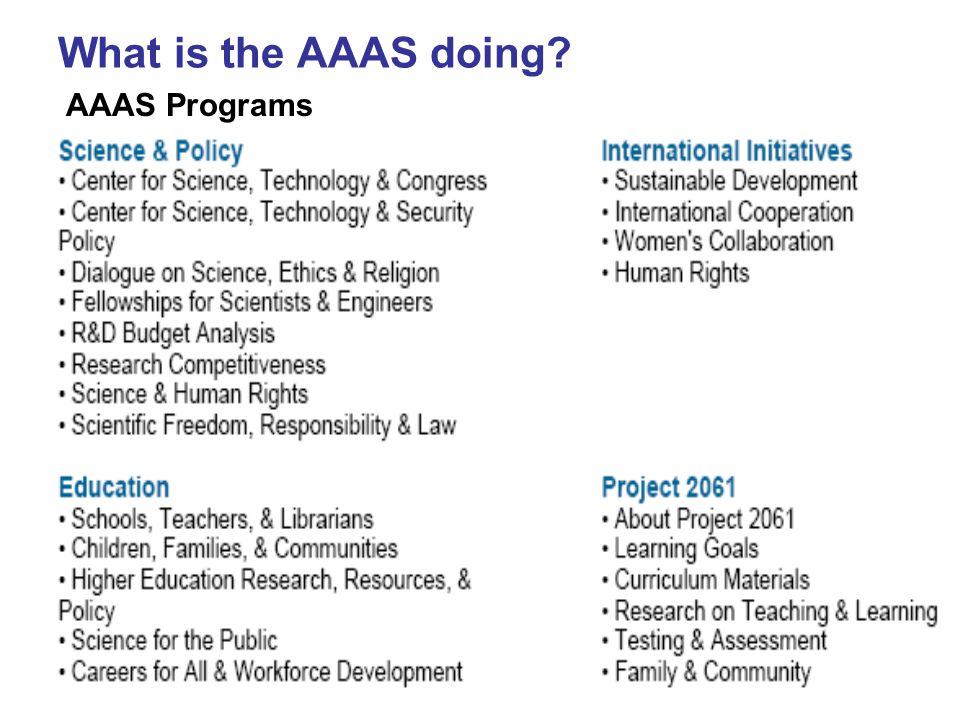 What is the AAAS doing AAAS Programs