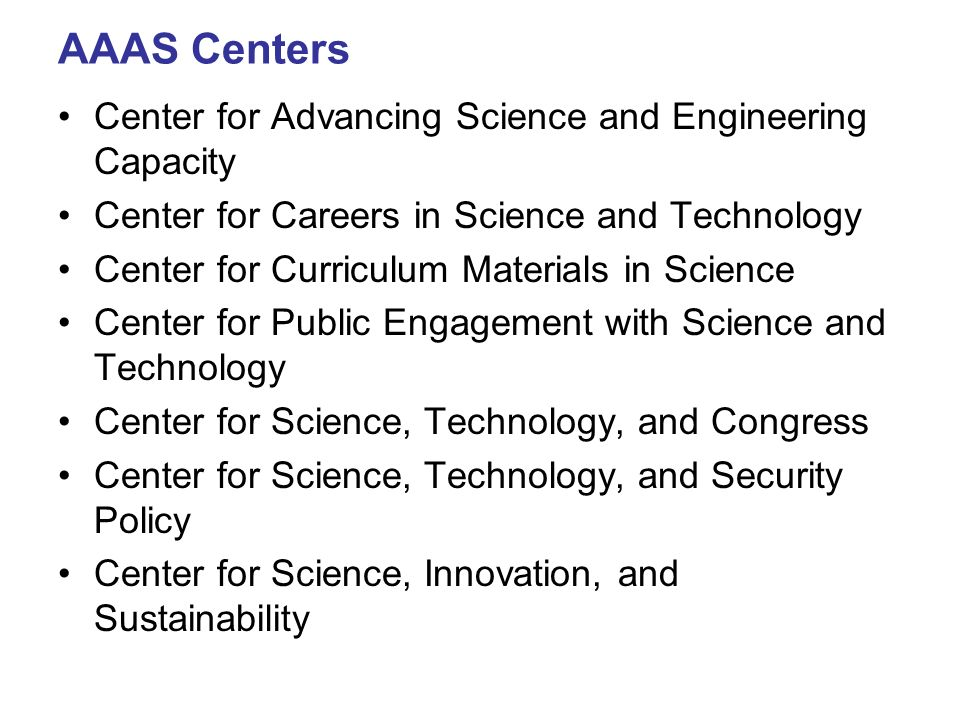 AAAS Centers Center for Advancing Science and Engineering Capacity