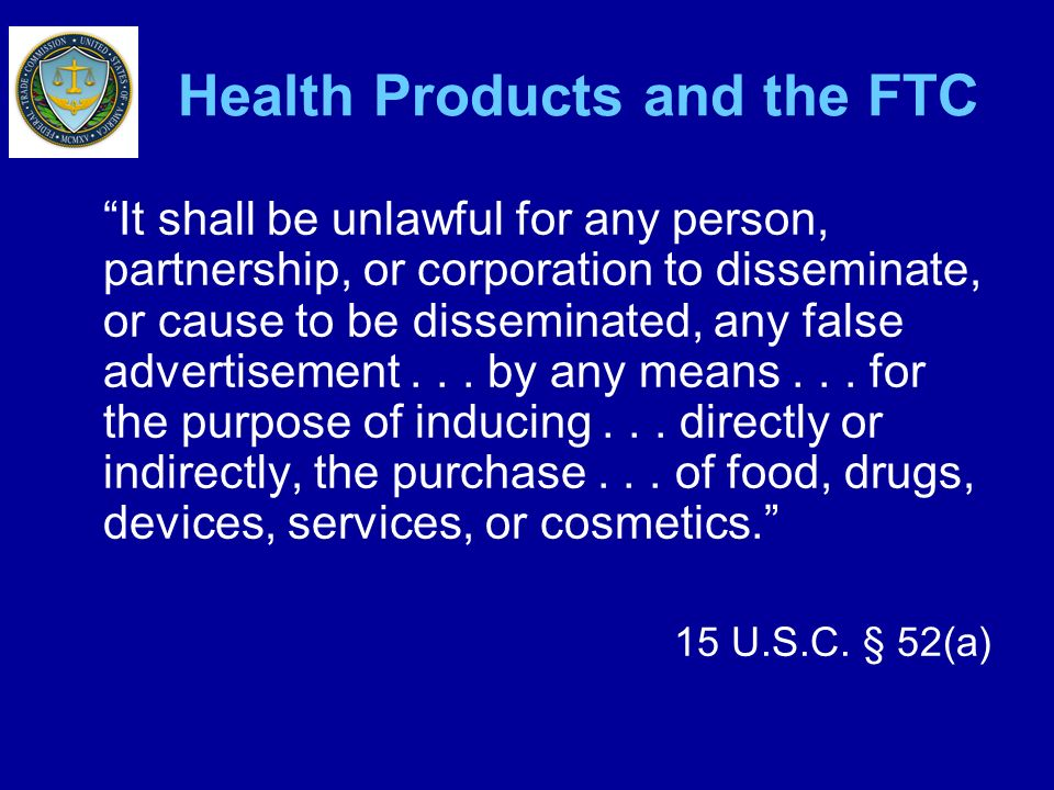 Health Products and the FTC
