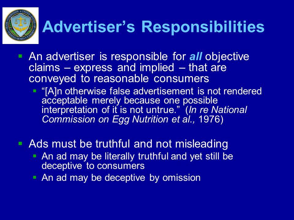 Advertiser's Responsibilities