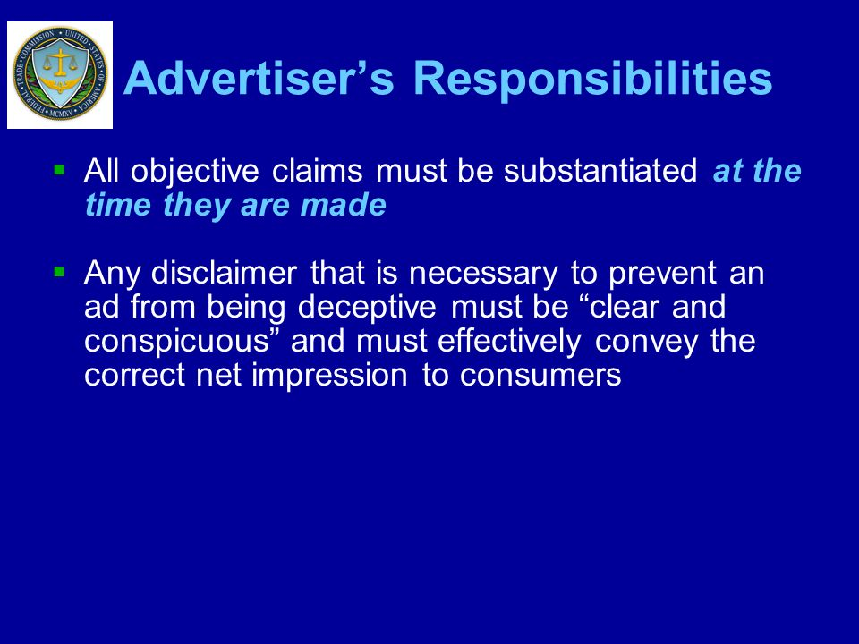 Advertiser's Responsibilities