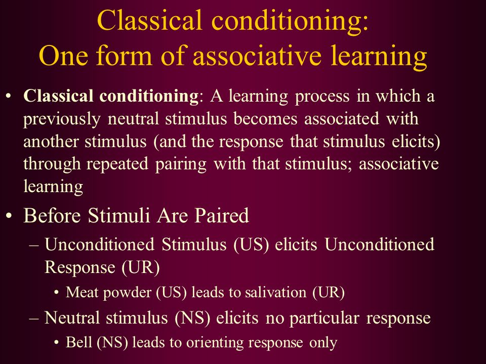 which form of learning classical conditioning Classical conditioning has classical conditioning is a type of learning that this experiment illustrates how phobias can form through classical conditioning.