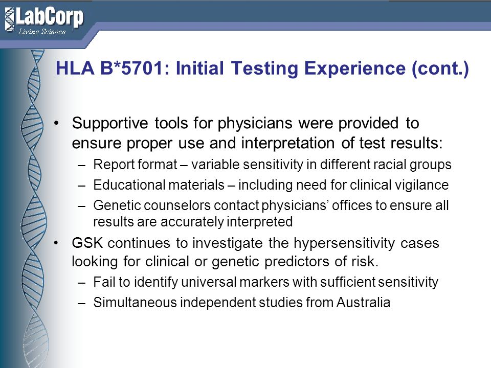 HLA B*5701: Initial Testing Experience (cont.)