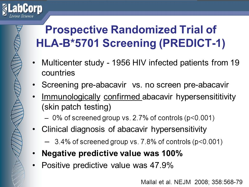Prospective Randomized Trial of HLA-B*5701 Screening (PREDICT-1)