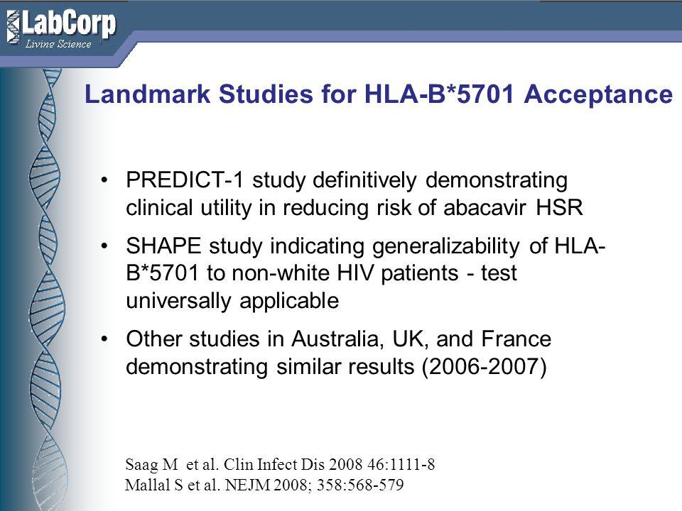 Landmark Studies for HLA-B*5701 Acceptance