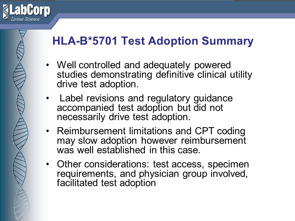HLA-B*5701 Test Adoption Summary