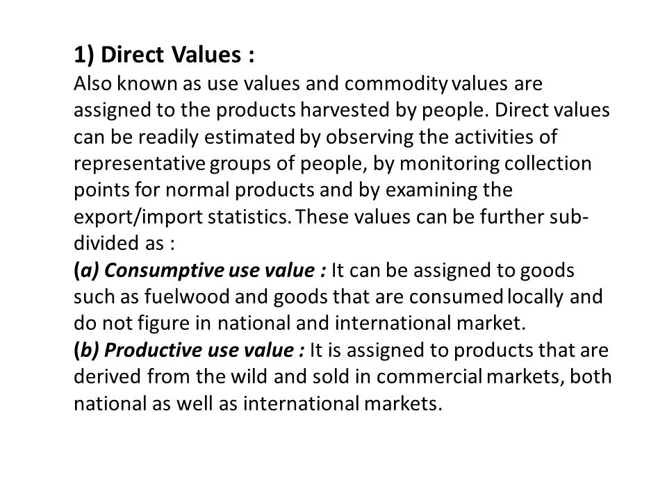 1) Direct Values :