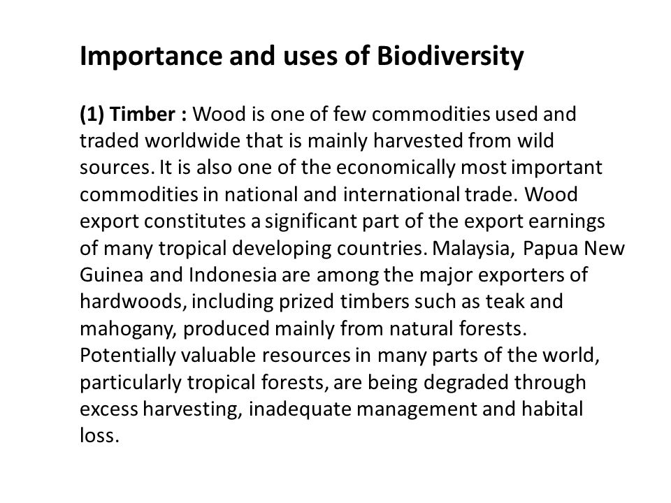 Importance and uses of Biodiversity