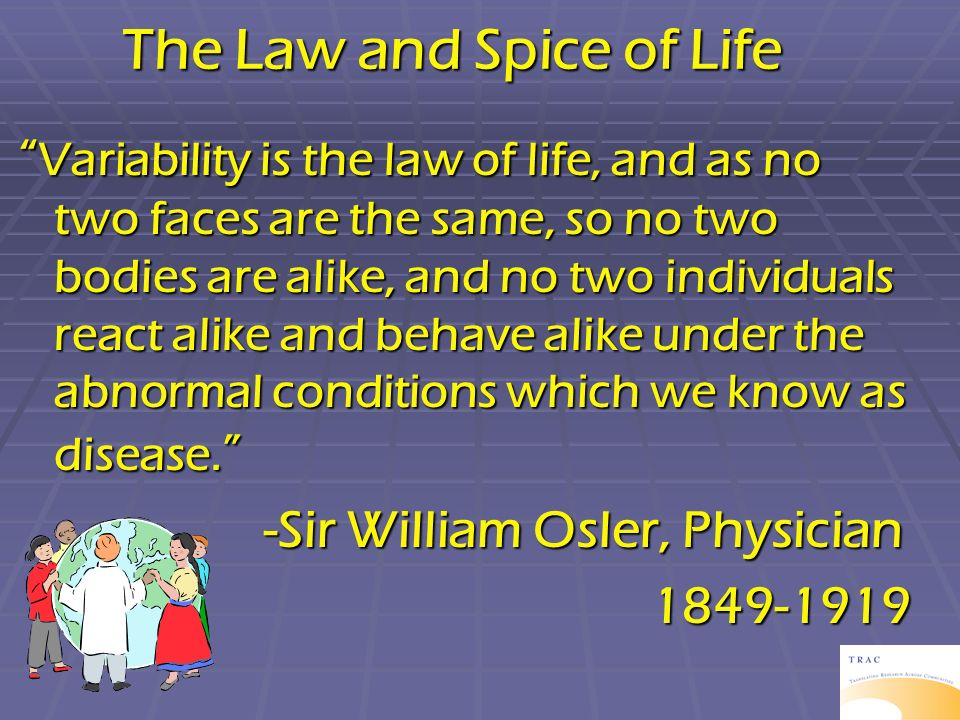 The Law and Spice of Life