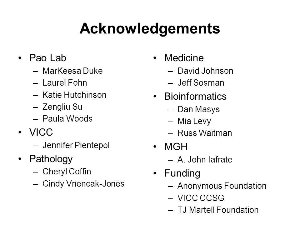 Acknowledgements Pao Lab VICC Pathology Medicine Bioinformatics MGH