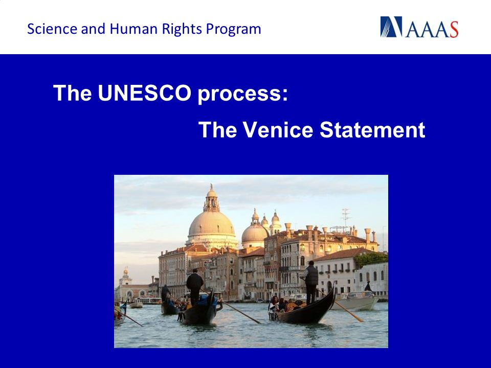 The UNESCO process: The Venice Statement