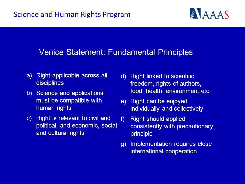 Venice Statement: Fundamental Principles
