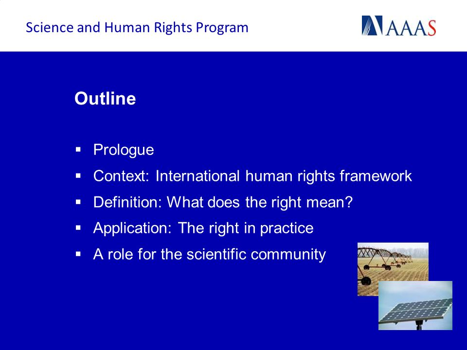 Outline Science and Human Rights Program Prologue