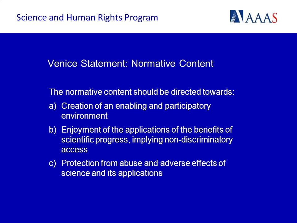 Venice Statement: Normative Content