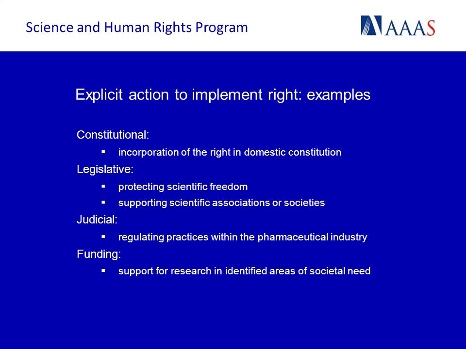Explicit action to implement right: examples
