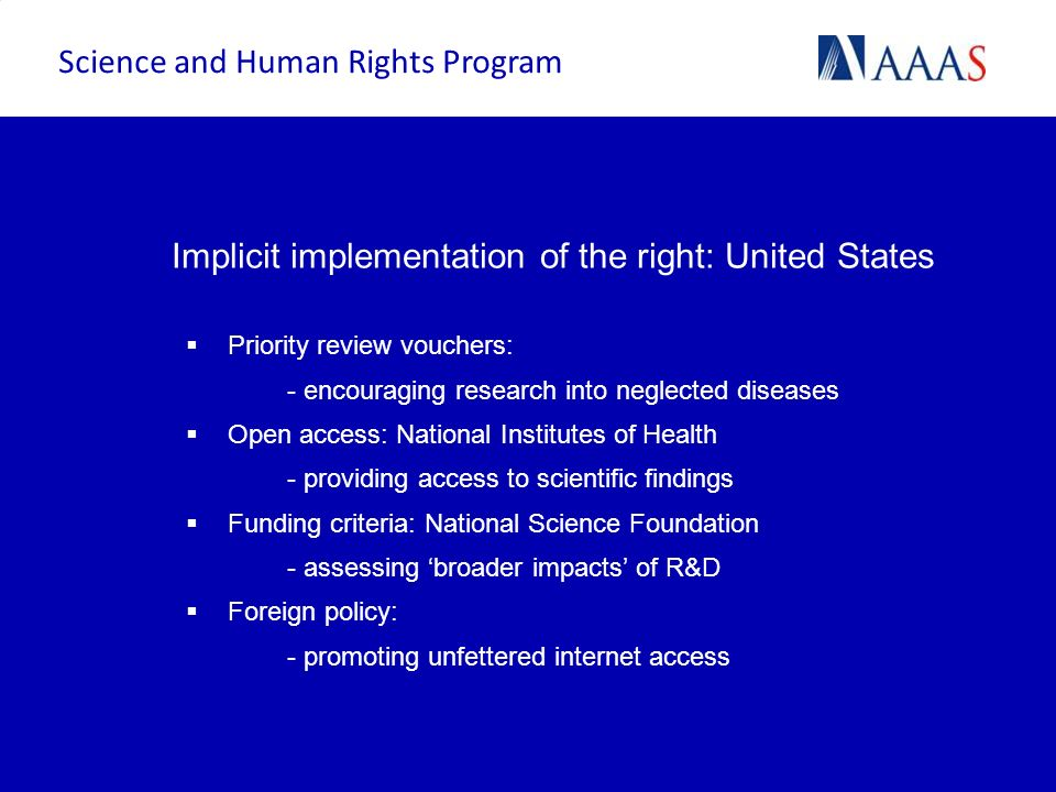 Implicit implementation of the right: United States