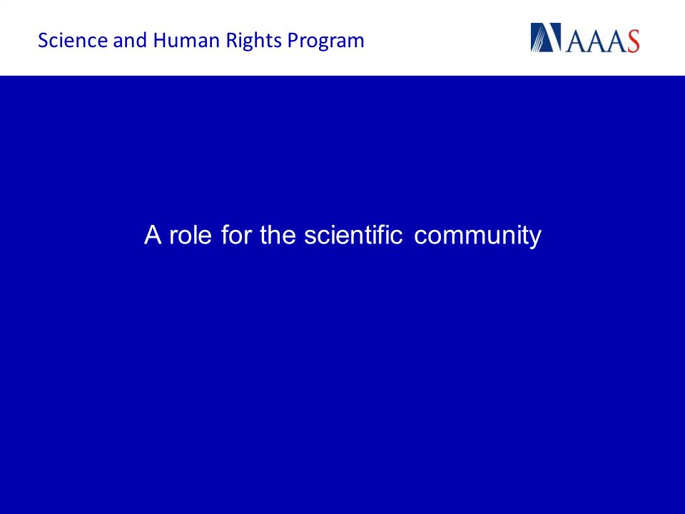 A role for the scientific community