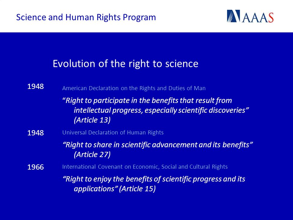 Evolution of the right to science