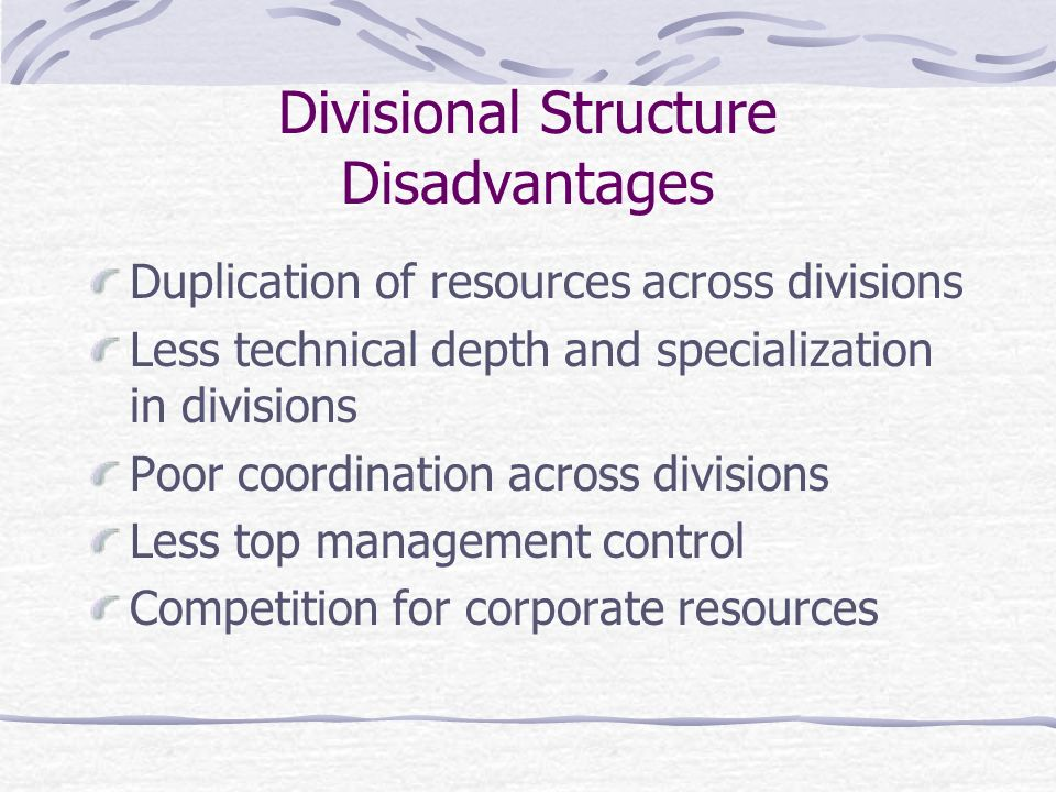 Divisional Structure Disadvantages