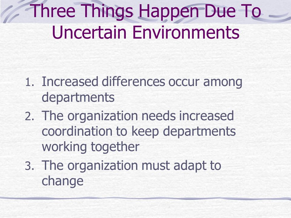 Three Things Happen Due To Uncertain Environments