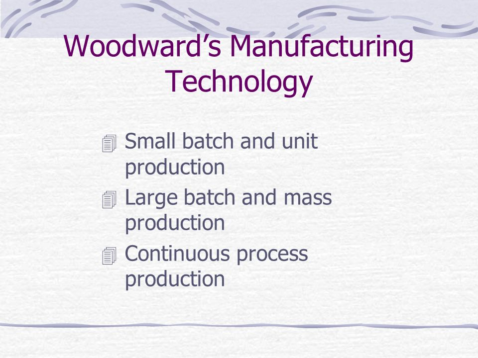 Woodward's Manufacturing Technology