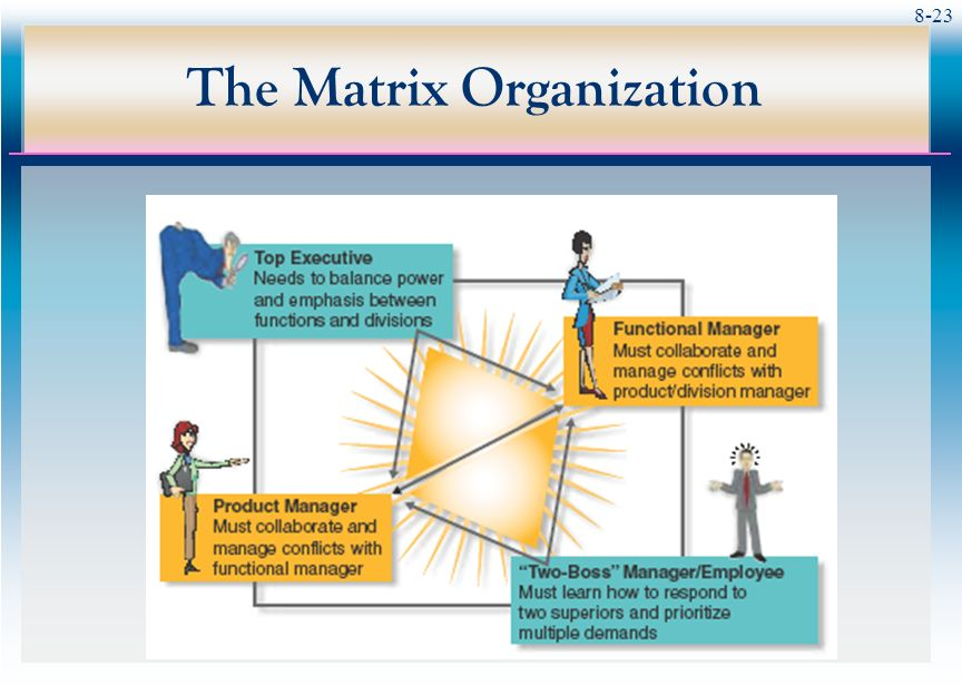 problems within a matrix organization In its strictest definition a matrix organization structure is where people have   problems solving team working on a business issue that impacts a number of.