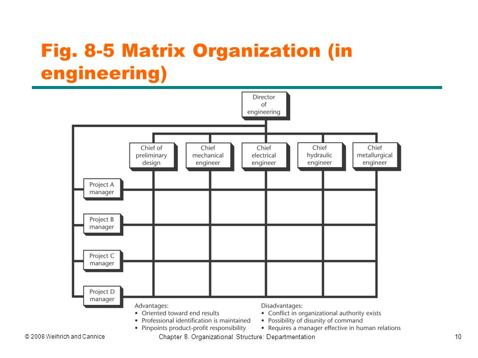 matrix departmentation Some firms are organized by using a mix of departmentation types (matrix organization) it is not unusual to see firms that utilize the function and project organization combination.