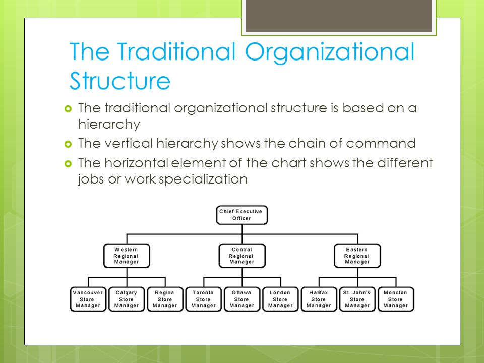 traditional organization structure Flat organizational structure the flat organizational structure evolved from the traditional pyramid structure through the elimination of middle management, which.