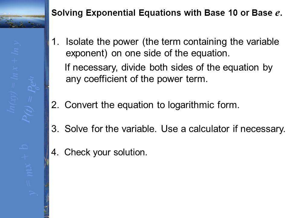 Section 6.4 Exponential and Logarithmic Equations - ppt video ...