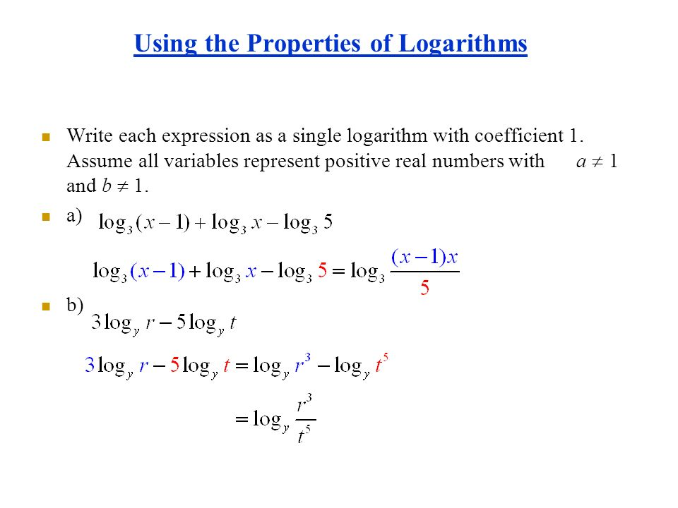 write as sum difference or multiple of logarithms in real life